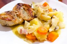 Braised chicken breasts with winter vegetables by mikko kuhna, via Flickr
