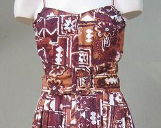 Vintage 1950s Brown and White Alfred Shaheen Hawaiian Tiki Dress With Matching Jacket and Belt