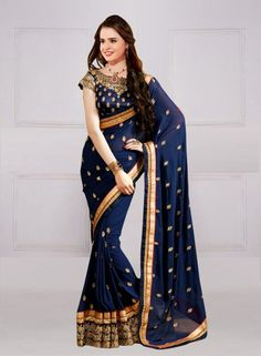 DESIGNER NAVY BLUE GEORGETTE MULTI WORKED SAREE WITH BLOUSE