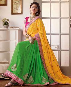 https://www.a1designerwear.com/alluring-yellow-and-green-georgette-saree