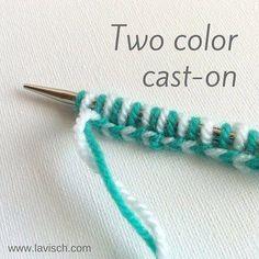 Knitting A Two-Color Cast On A Tutorial - Craftfoxes * stricken eines zweifarbigen musters für ein tutorial - craftfoxes * * tricoter un casting deux couleurs sur un tutoriel - craftfoxes * tejer un molde bicolor en un tutorial - craftfoxes Cast On Knitting, Knitting Basics, Knitting Help, Circular Knitting Needles, Knitting For Beginners, Loom Knitting, Knitting Stitches, Knitting Projects, Knitting Tutorials