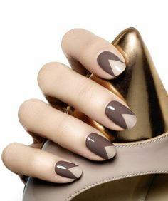 ongles décorés deco ongle gel de couleur beige et marron