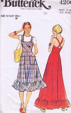 Items similar to Dress Pattern Butterick 4200 Back Button Ruffled Hem Fit and Flare Midi Maxi Sundress Jumper Womens Vintage Sewing Pattern Bust 30 on Etsy Vintage Dress Patterns, Clothing Patterns, Vintage Dresses, Vintage Outfits, 1970 Style, Retro Fashion, Vintage Fashion, Fashion Fashion, Fashion Dresses