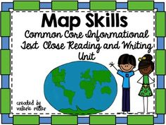 First grade map skills unit (great for second grade too) that also practices common core reading and writing skills. This unit also has projects that include art and map making. The unit is organized around a shared reading wall story (narrative input chart) and 4 articles.