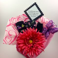 """""""Something satin, something lace, Put a Smile on His Face"""" panty bouquet. This is a perfect gift for a bachelorette party or bridal shower. It will be a """"Wow"""" factor gift, remembered by all!."""