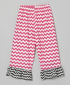 Another great find on #zulily! Hot Pink & Black Zigzag Ruffle Pants - Infant, Toddler & Girls #zulilyfinds