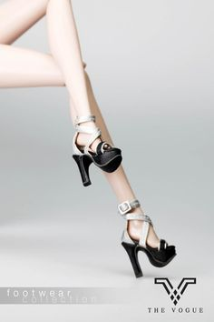 B1011-10 The Vogue Silver Black Fashion Sandals High Heels Shoes - Limited Edition