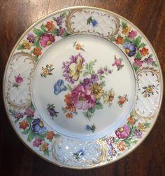 """Vintage Dessert Plate 6 3 4""""Schumann Dresden Empress Flowers Excellent   eBay"""