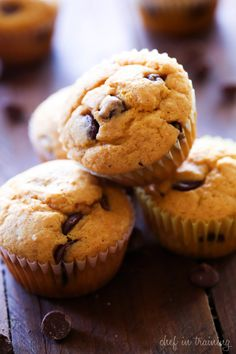 Buttermilk Pumpkin Chocolate Chip Muffins... This is such a delicious fall recipe! Perfectly moist and absolutely tasty!