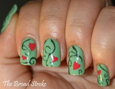 hearts on a vine 45 Cute Nail Designs You Will Definitely Love