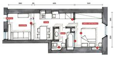 enfilade home plan Small Floor Plans, Small House Plans, House Floor Plans, Micro Apartment, Studio Apartment, Ikea Home, Diy House Projects, Small Space Living, Small Apartments