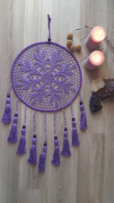 Purple Wall Decor, Purple Walls, Crochet Mandela, Black Dream Catcher, Crochet Dreamcatcher, Crochet Wall Hangings, Crochet Tablecloth, Chrochet, Floor Rugs