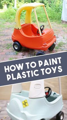 Learn how to paint plastic toys, like the Little Tikes Cozy Coupe car, plastic outdoor furniture, or even how to paint a plastic playhouse! Plus, get recommendations on the best spray paint for plastic! Spray Paint Plastic, Best Spray Paint, Plastic Plastic, Shrink Plastic, Plastic Bottle, Little Tikes Playhouse, Playhouse Outdoor, Kids Plastic Playhouse, Little Tikes Playground