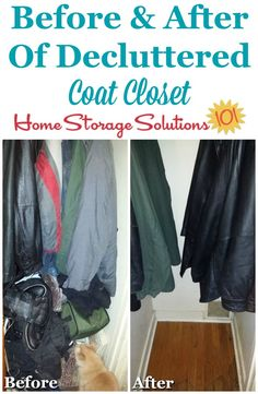 Before and after of decluttered coat closet on Home Storage Solutions 101 Entry Closet, Home Storage Solutions, Organization Hacks, Organizing Tips, Family Organizer, Declutter Your Home, Closet Storage, Storage Cabinets, Getting Organized