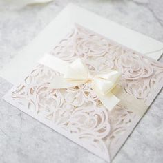 blush pink laser cut spring wedding invitation with pearl ribbon bow/ cheap laser cut wedding invitation
