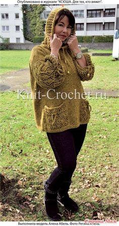 Туника с карманами и капюшоном. Спицы. - ВЯЗАНАЯ МОДА+ ДЛЯ НЕМОДЕЛЬНЫХ ДАМ - Страна Мам Rubrics, Crochet Projects, Knit Crochet, Knitting Patterns, Winter Hats, My Favorite Things, How To Wear, Clothes, Dresses