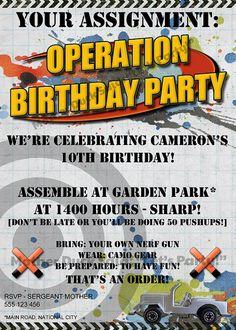 Nerf gun inspired party invitations