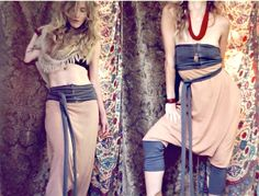 harem pants / romper. organic cotton and hemp fabric. hand dyed colors- desert sand/ charcoal. 'made to order'