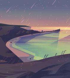 Illustration by Jasmine Lai Environment Concept, Environment Design, Steven Universe Background, Art Environnemental, Bg Design, Universe Art, Animation Background, Environmental Art, Digital Illustration