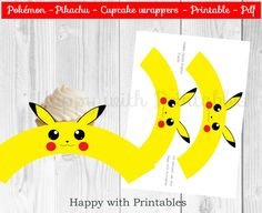 Pokémon GO cupcake wrappers - Pikachu cupcake wrappers - Pokemon Pikachu - Pikachu printable - Pokemon party - Pokémon GO wrappers door HappywithPrintables op Etsy