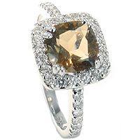 Marrone - Vakker diamantring med røk kvarts