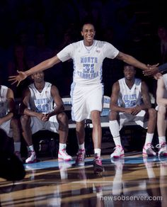 John Henson (31) smiles as he is introduced into the starting lineup for the Tar Heels' game against Georgia Tech.
