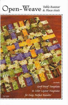 Table Runner 17-3/4in x 40in or any length desired. Placemats 14in x 18in. Includes goof-proof templates and color layout diagrams.
