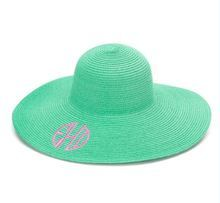 Our mint green monogrammed floppy sun hat is perfect for the beach or special occasions.