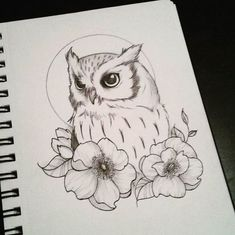 owl drawing * owl tattoo & owl & owl tattoo design & owl tattoo for women & owl drawing & owl art & owl crafts & owl valentines boxes Flower Tattoo Drawings, Bird Drawings, Flower Tattoo Designs, Doodle Drawings, Animal Drawings, Drawing Sketches, Tattoo Flowers, Drawing Owls, Drawing Flowers