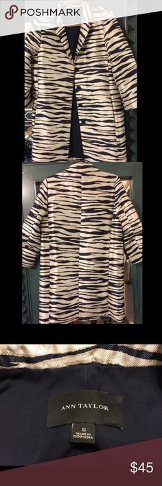 Jacquard Zebra Topper! Ann Taylor, Size S Tip-top topper!! GORG zebra-print, jacquard topper jacket. Size small, and has only been worn a couple times. Recently dry-cleaned and in absolutely perfect condition. Buttons in front, which are hidden when the topper is worn closed. Don't let this topper gallop away! Happy Shopping! 🦄🦄 Ann Taylor Jackets & Coats