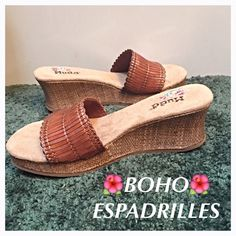 """SALEMUDD Boho Wedge Edpadrilles 9 Cutest Comfy Boho Wedge Espadrille Sandals by Mudd. Slip on style - soft suede like padded footbed - espadrille wedge heel measures @2.5"""" - pretty manmade brown/tan strap lined with soft fabric - rubber bottom sole - NWOT Size 9  Mudd Shoes Sandals"""