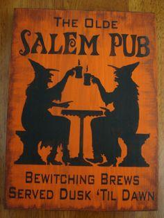 The Olde Salem Pub Witches Wood Sign Plaque Halloween Decor Prim | eBay