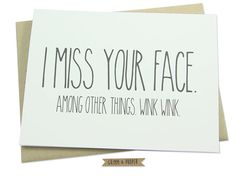 Miss You Card Miss Your Face Love Long Distance by GrimmAndProper