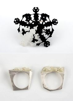 """""""Rorschach"""" and salt & silver rings. All pieces by Israel's Tami Eshed."""