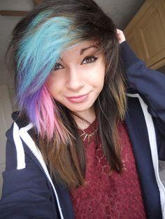 multi colored hair tumblr - Google Search
