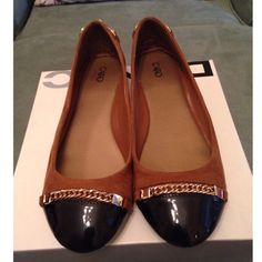 Faux Suede and Patent Flat Brown and Black Flat with Gold Chain Detailing Cato Shoes