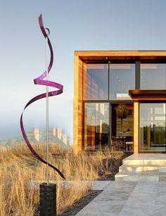Mid-Century Modern - Outdoor Garden #Sculpture Metal Abstract Purple Freestanding Ribbon Dancer #MidCenturyModern #MCM