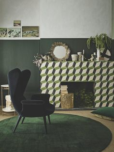 Forest Green Decor Ideas House Color Schemes, House Colors, Colour Schemes, Living Style, Music Bedroom, Green Interior Design, Art Deco, Living Room Green, Green Rooms