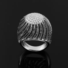 White Gold Two-tone Diamond Pave Cocktail Dome Ring, studded with 281 clear and black diamonds. Diamond clarity: Ring weight: Ring width: Ring height: Available in & gold. White Gold Rings, White Gold Diamonds, Heart Beat Ring, Pave Ring, Diamond Clarity, 18k Gold, Cocktail, Usa, Products