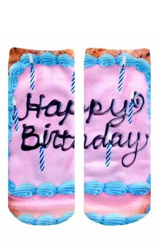 """The Ultimate Birthday Present! Printed on one side only. Unisex.    Measures: 7.5"""" x 3""""   Happy Birthday Socks by Living Royal. Accessories - Socks Miami, Florida"""