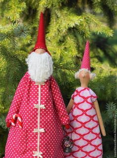 Санта Клаус с девушкой - ярко-красный,санта тильда,санта клаус,санта,дед мороз