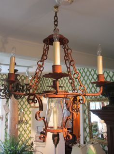 Antique Wrought Iron Spanish Electric, Natural Light Chandelier for sale at Bertolini & Co. on Main St. in Warwick, NY Chandelier For Sale, Outdoor Chandelier, Antique Chandelier, Chandelier Lighting, Wrought Iron Chandeliers, Sorrento, Cool Lighting, Rustic Design, Natural Light