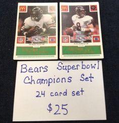 Superbowl Champions Chicago Bears 24 Card Set Walter Payton/Jim McMahon/Perry