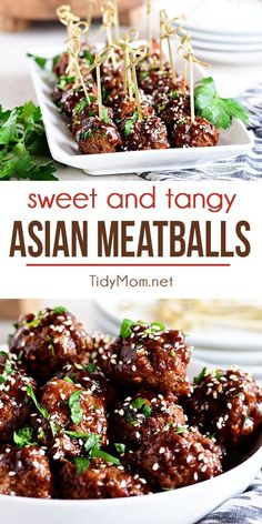 These crowd-pleasing Sweet and Tangy Asian Meatballs cook up in no time with a homemade sticky teriyaki sauce. They make a sensational appetizer for a party or dinner idea when served over rice and broccoli. Print the full recipe at TidyMom.net #meatballs #appetizer  via @tidymom