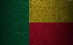 Download wallpapers Flag of Benin, leather texture, 4k, Benin flag, Africa, flags of the world, African flags, Benin