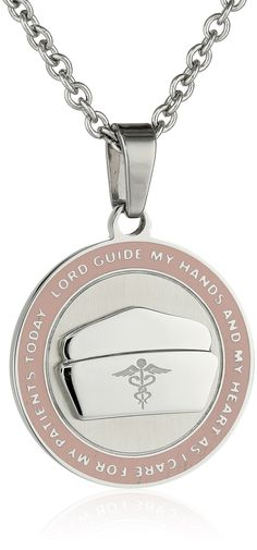 Nurse's Prayer Necklace With Pink Border Nurse's Pendant With 18 Inch Chain - Nurses Necklace and Gifts|Amazon.com