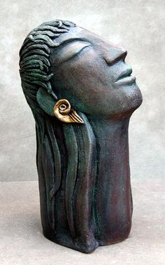 Ceramics by Anne Foxley at Studiopottery.co.uk - 2012. Green Head with Gold Earing