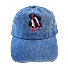 Classic denim baseball cap with embroidered duck walk pose at the front. - Seamed bill. - Six-panel construction. - Knit band at the interior. - 100% cotton. - Machine washable. - Adjustable.
