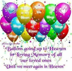 Balloons going up to Heaven in Loving Memory of all our loved ones.
