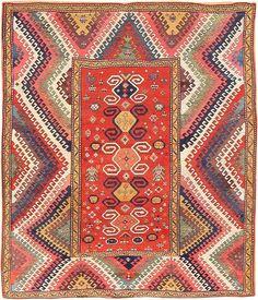 Caucasian Bordjalou Kazak rug, late 19th c. Natch, I can find bargello anywhere...even